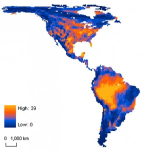 A heat map of species that will have trouble migrating to track a changing climate. (Blue = none, yellow = 40 percent)