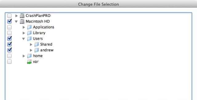 Selecting files for backup. Hidden files can also be backed up if desired.
