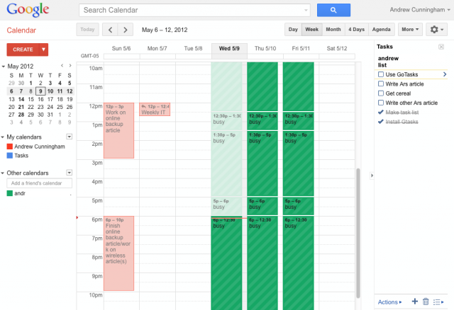 Google Calendar is excellent for sharing calendars, but its tasks list (to the right) can't be shared with others.