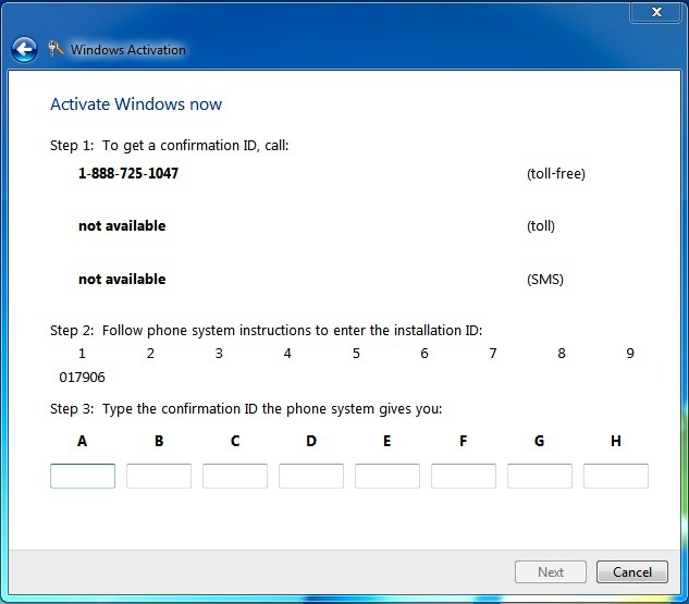 Activating Windows 7 over the phone. In total, there will be nine six-digit numbers to give to Microsoft's automated system, which will give you a confirmation ID to type for activation.