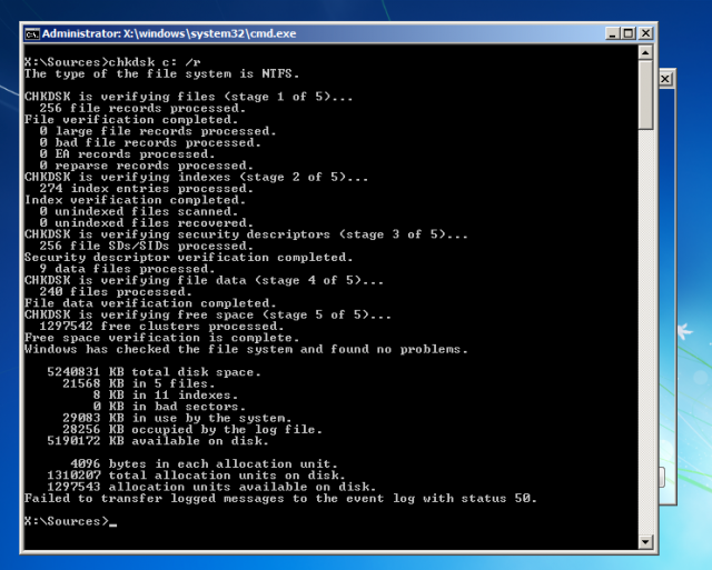 Running Chkdsk from the command line is actually a bit easier than using the GUI.