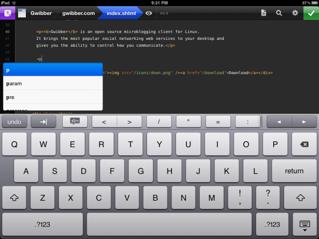 Testing HTML auto-completion in Diet Coda