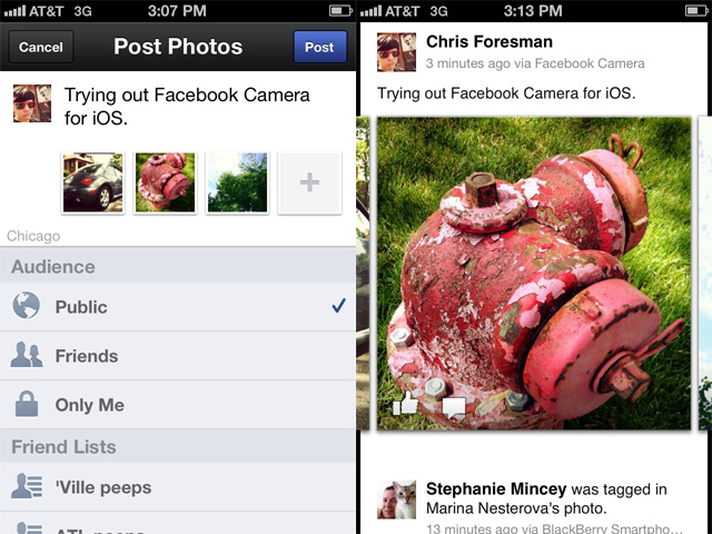 All the various metadata and privacy controls are included in Facebook Camera.