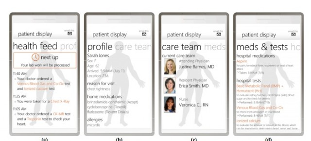 The Windows Phone medical information application interface used in the emergency room study by Northeastern University, Microsoft Research and MedStar Institute researchers. The app tied into the hospital's electronic medical record system.