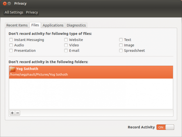 Configuring Zeitgeist's privacy settings.