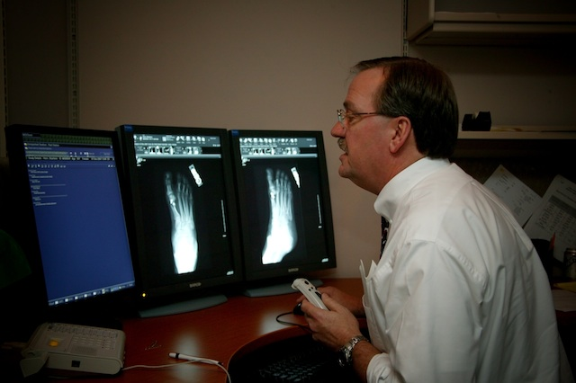 A Radisphere radiologist at his teleradiology workstation