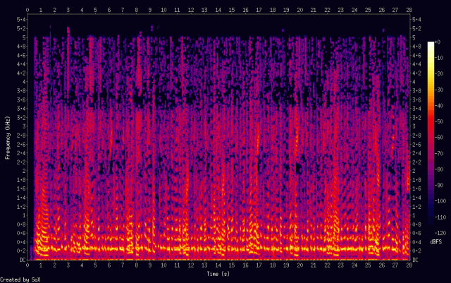 A spectrogram of a reCAPTCHA audio challenge after Google engineers hardened it to attack.