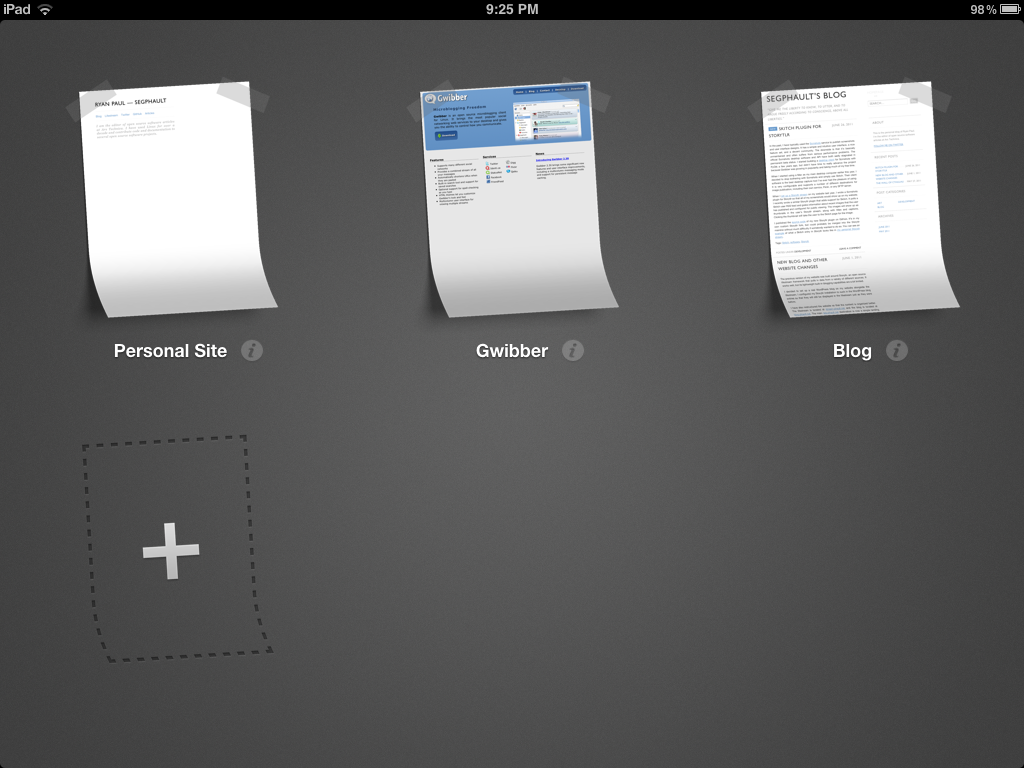 Viewing the list of configured sites