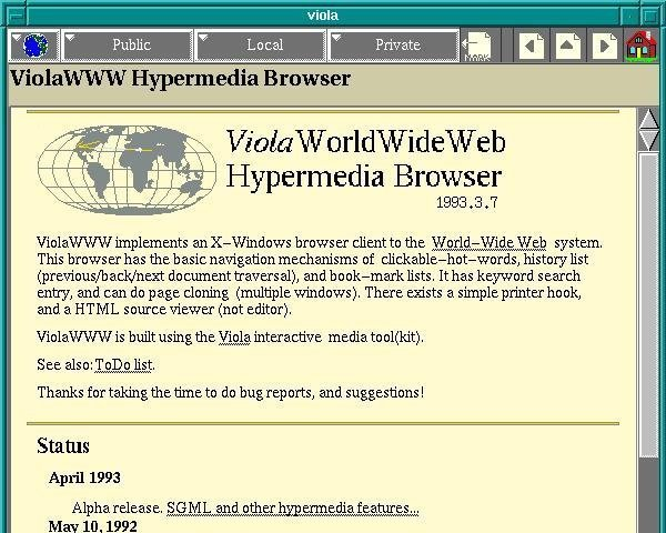 The ViolaWWW Hypermedia Browser, inspired by HyperCard