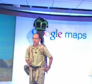 "Luc Vincent shows off Google's ""Street View"" backpack"