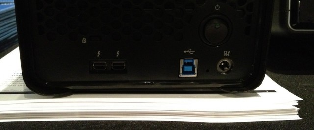 The back of the Drobo 5D shows us its USB 3.0 port and two Thunderbolt ports. The port layout of the Drobo Mini is the same, but it lacks the Kensington lock slot.
