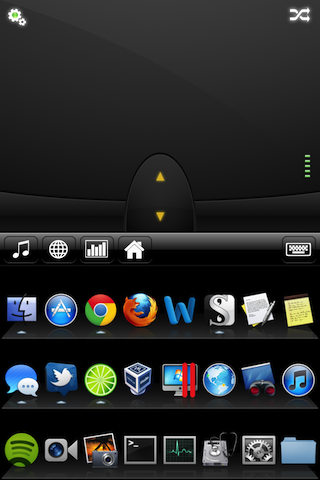 Mobile Mouse Pro's application launcher. The default apps shown are the ones pinned to your Taskbar or Dock.