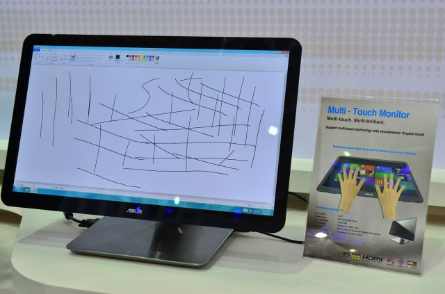 Asus's touchscreen monitor. The backlight is hiding the smudges, but trust us, they're there.