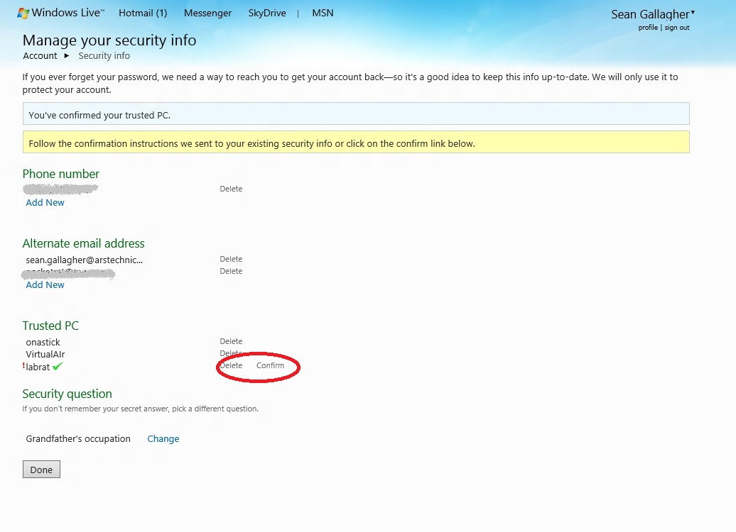 The Windows Live page allows you to add and remove trusted PCs, and modify security verification info.