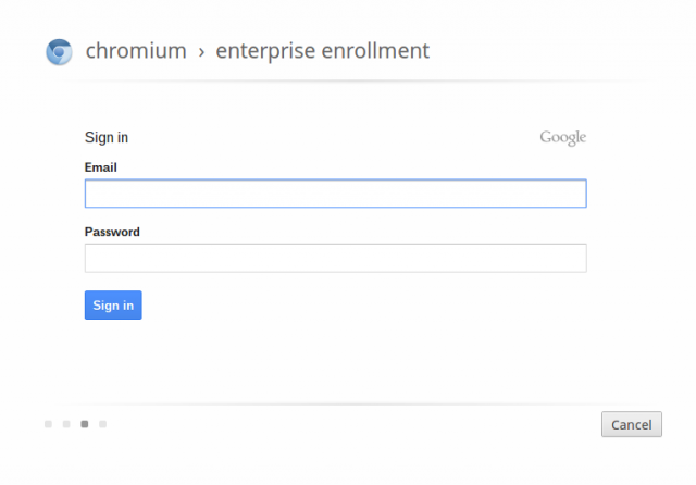 Chromium OS respects some of the management console's edicts, but not all of them. Neither automatic nor manual device enrollment is possible, despite the presence of this screen.