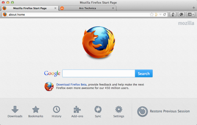 The updated start page in Firefox 13 has a new row of icons along the bottom