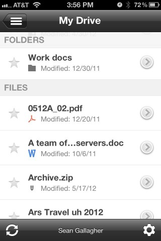 Browsing folders and files in the Google Drive app on the iPhone