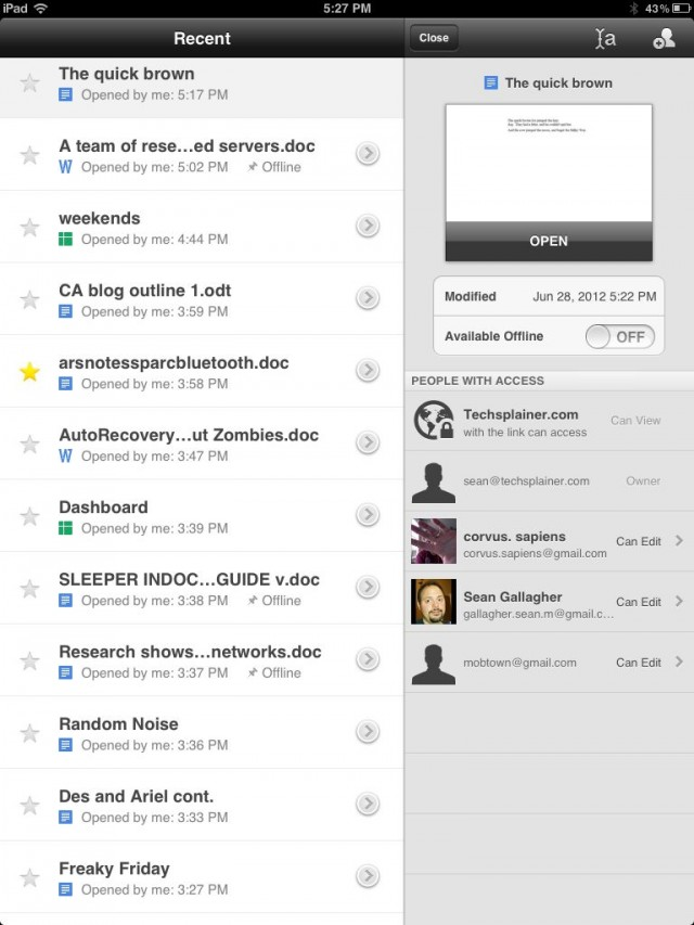 A view of files and folders in Google Drive from the iPad, with a file selected showing information on who has rights to it.