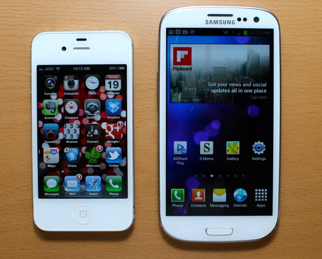 The Galaxy S III next to an iPhone 4S