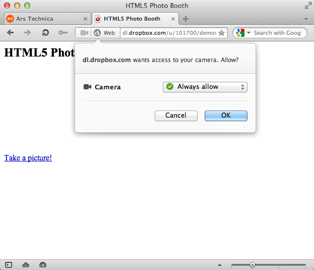 The new webcam capture API protects privacy by prompting the user for permission.