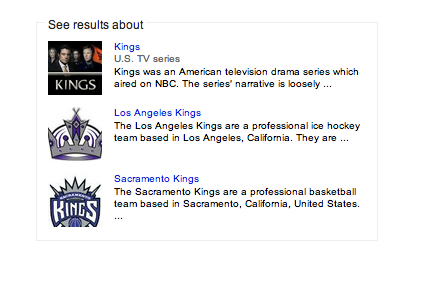 "The Knowledge Graph contextual cues for the search ""kings."""