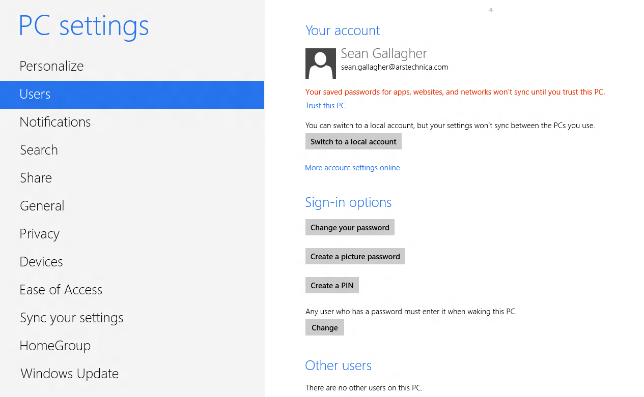 "The Windows 8 user settings screen before a PC is ""trusted."""