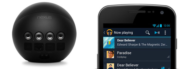The Nexus Q has a built-in 25W amp and can connect to your HDTV or A/V receiver. You can control it with your Android phone.