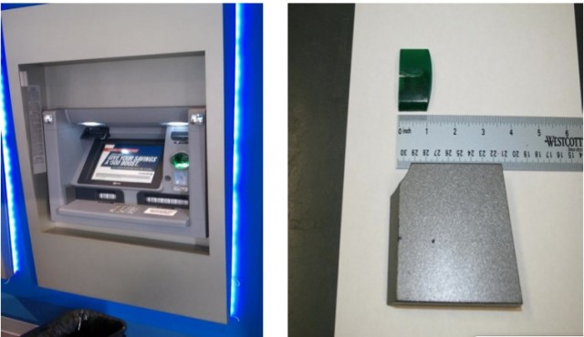 "At left, one of the Chase ATMs ""compromised"" by Ivanov and Stamatov's skimming gear. At right, the card reader—disguised as a lip that fits over the ATM's existing card slot—and the pinhole video camera used to capture victims' PINs."