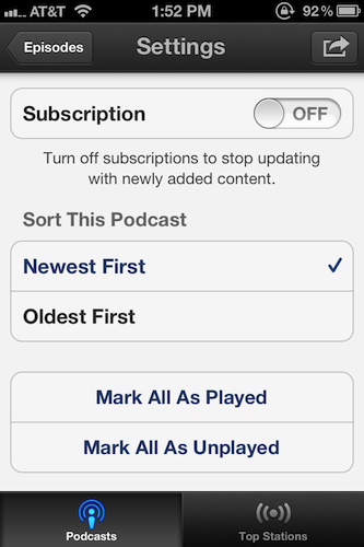 Each podcast has an individual settings app that makes it easier to manage straight from an iOS device.