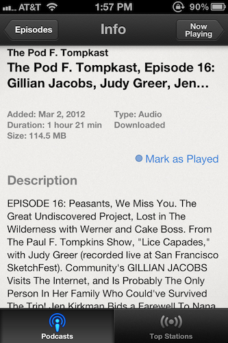 Selecting an individual podcast episode lets users mark it as played.