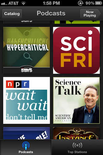 The front-facing section of the Podcasts app contains icons for your current subscriptions.
