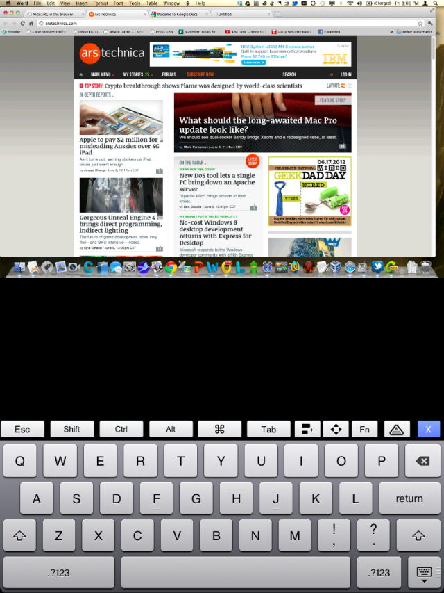 The PocketCloud Remote Desktop in portrait view on the iPad. You can zoom and position the screen with the usual touch gestures.