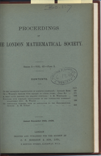 Turing's 1936 paper