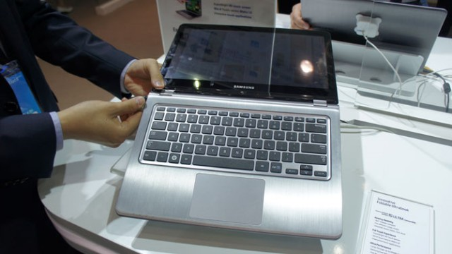 Samsung's Series 5 Ultra Convertible uses a touchscreen that folds all the way back underneath the laptop.