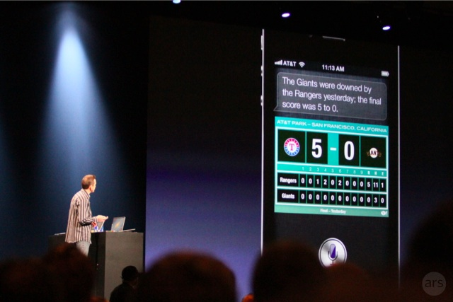Siri showing answers to sports questions