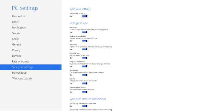 The Windows 8 sync setup screen.