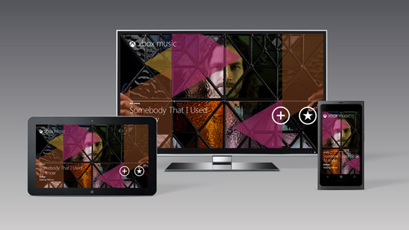 Xbox Music, a common look across TV, tablet, and phone.