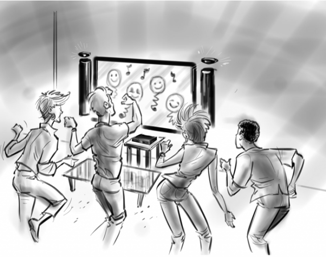 A sketch from the document showing four players using the improved, second-generation Kinect hardware.