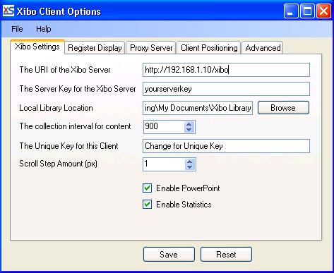 Configuring a Xibo client.