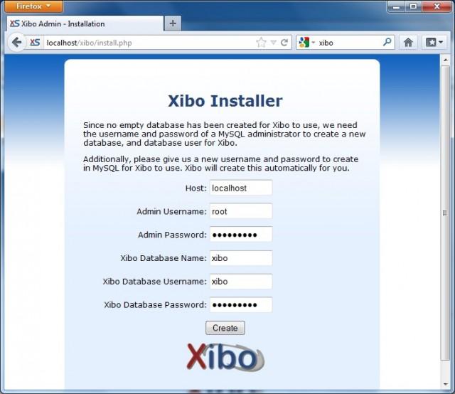 Going through the Xibo installer.