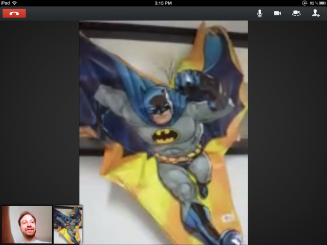My friend's Android phone doesn't have a front-facing camera, so I did a hangout with his Batman balloon.
