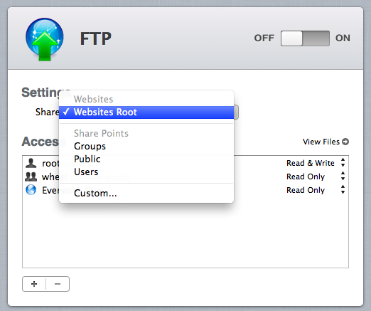 Shares from the File Sharing service automatically show up in the FTP service.