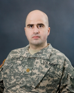 Nidal Hasan in a US Army photo after his promotion to major.