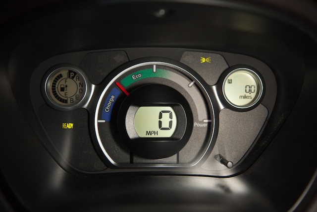 The i-MiEV's dash. Keep the needle in the green or the blue, otherwise why bother?