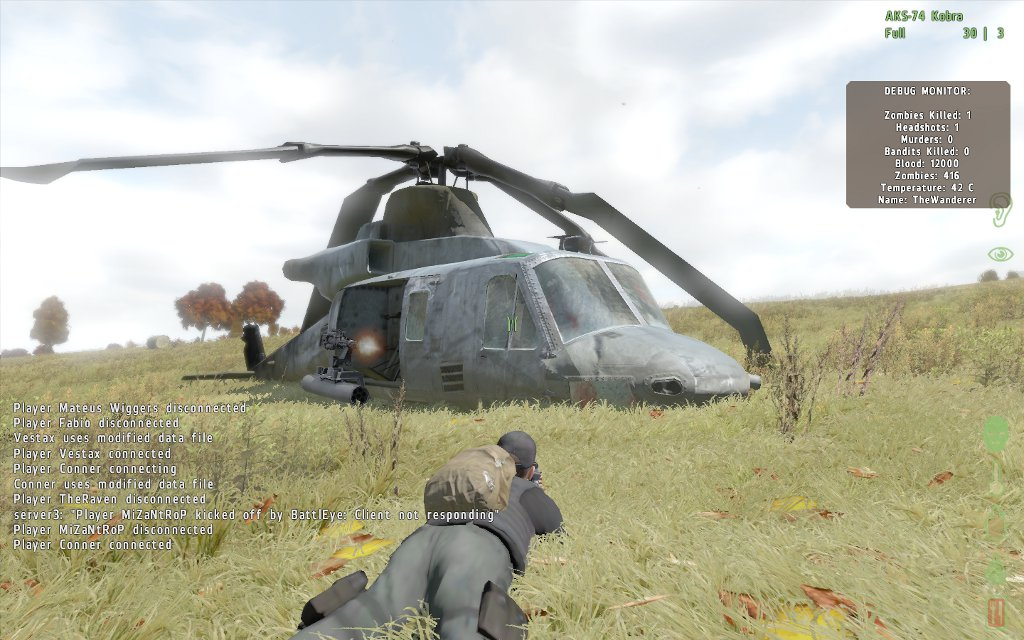 Helicopter country. This gray model is surrounded by ammo crates and rare, powerful weapons that attract quite a crowd, including zombie air crew.