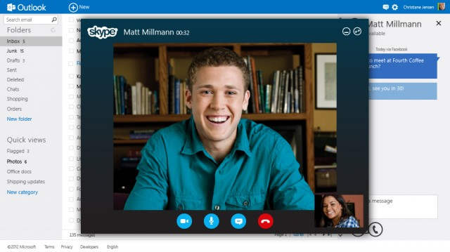 It's not there yet, but one day Skype will be integrated, in much the same way as it's currently integrated with Facebook.