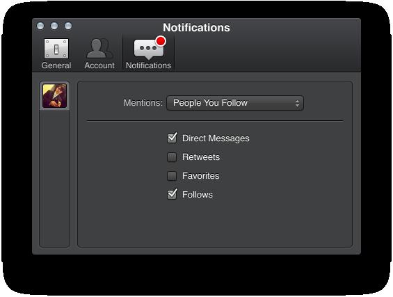 Running under Mountain Lion, Tweetbot alpha offers several notification options.