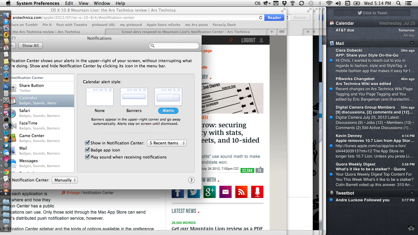 """The desktop slides over to the left to reveal Notification Center """"hiding"""" underneath."""