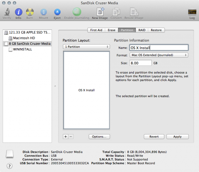 """Click the """"Options"""" button and make sure the partition type is """"GUID Partition Table."""""""