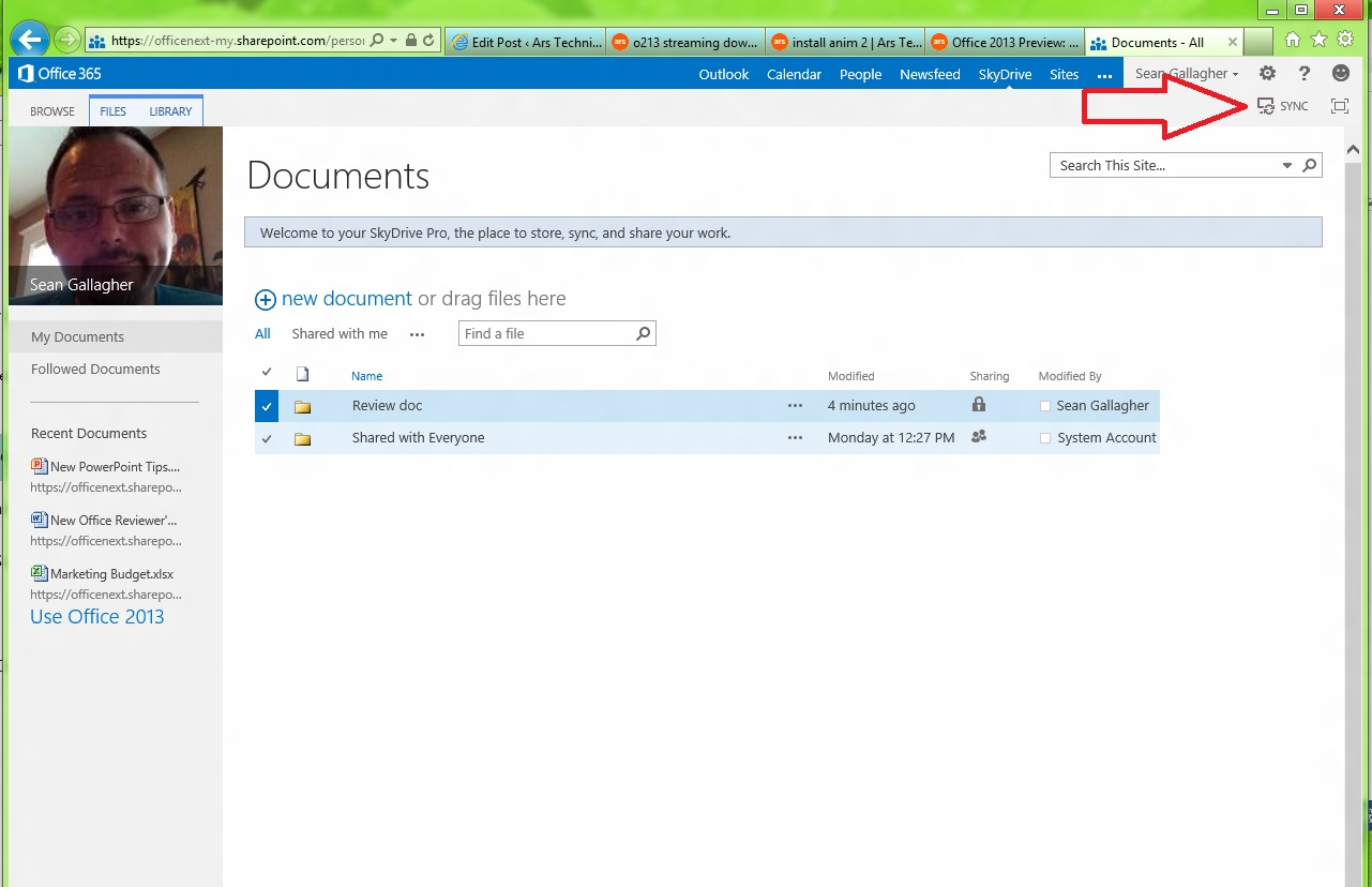 The sync button in the new Office 365's SkyDrive Pro interface (the red arrow is not part of the Web app.) Click, and the SkyDrive Pro client app connects to the folder.